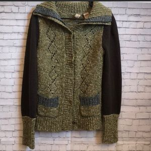 Buckle BKE green, brown & gray cardigan sweater